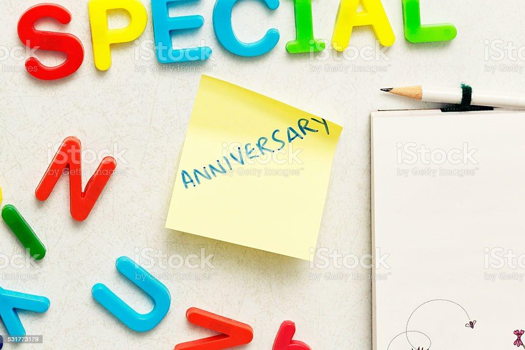 anniversary note on fridge door magnets spell special celebration