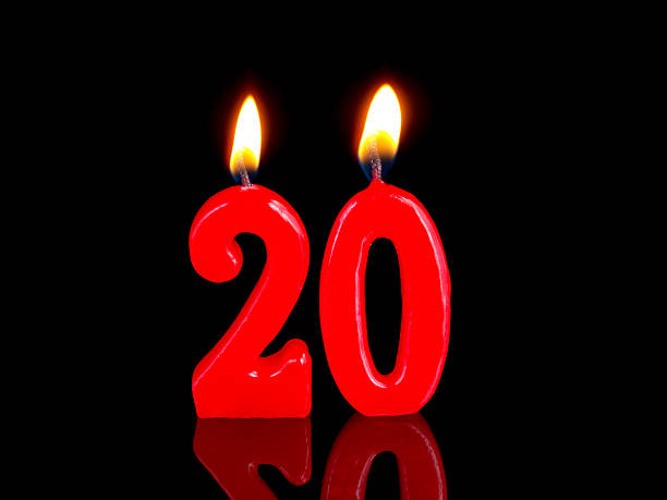 anniversary-birthday  candles. nr. 20 - number 20 stock photos and pictures