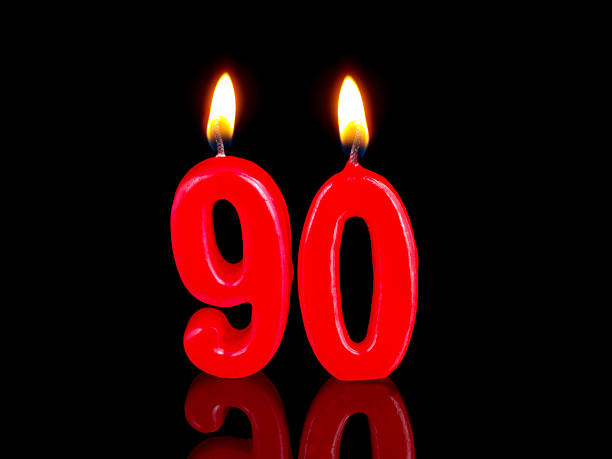anniversary-birthday  candles. nr. 90 - number 90 stock photos and pictures