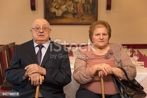 istock Anniversary.Sixty years together.The older couple in a restaurant 942166518