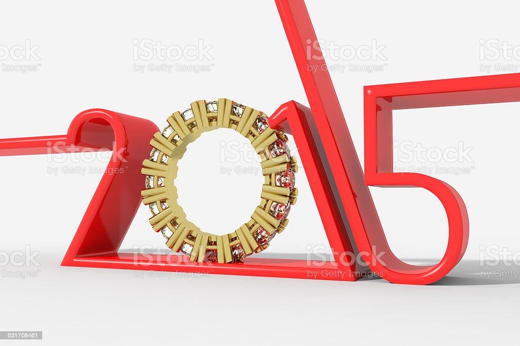 Anno 2015 con anello diamanti stock photo
