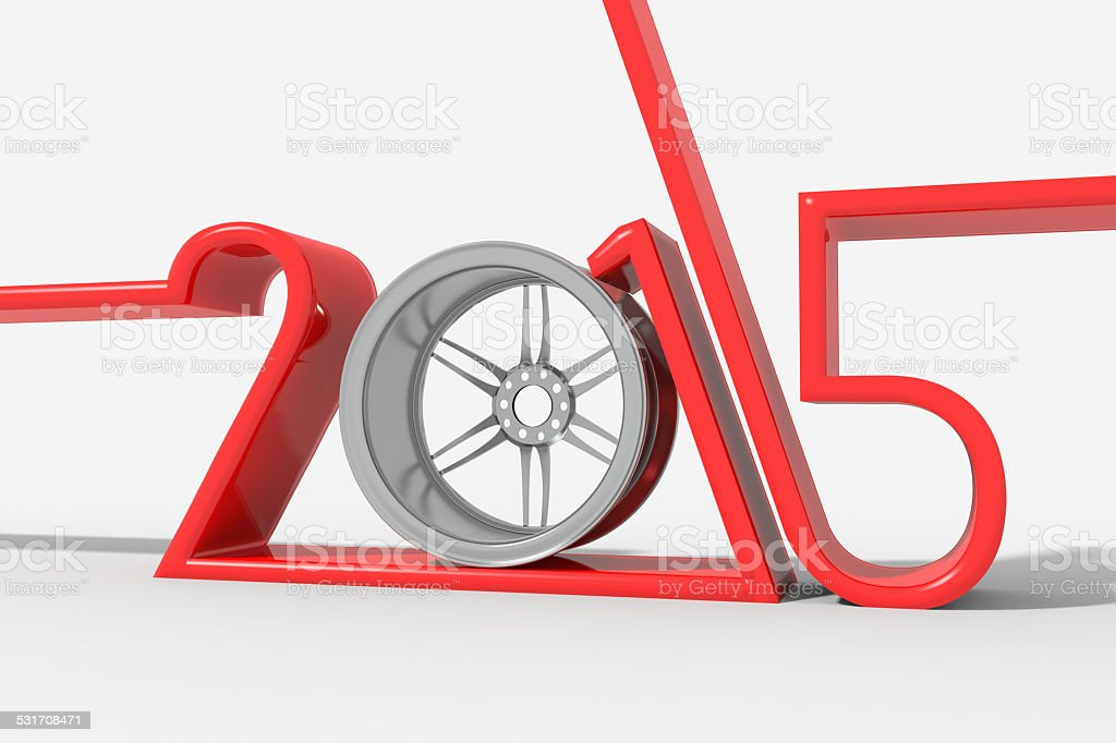 Anno 2015 con cerchio ruota stock photo