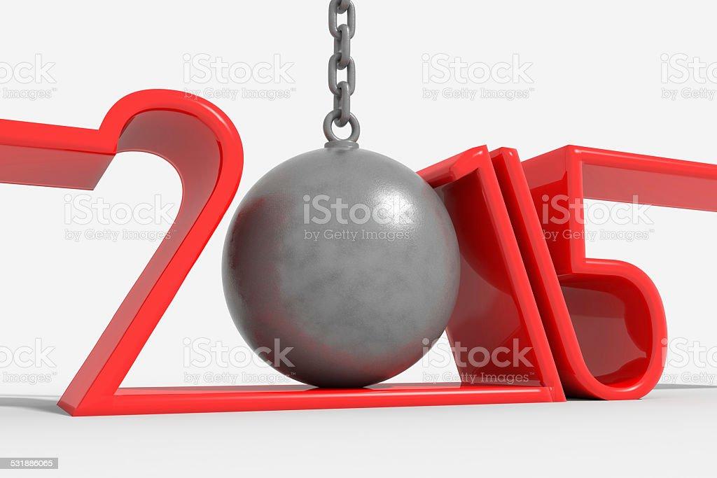 Anno 2015 con palla di ferro al posto dello 0 stock photo