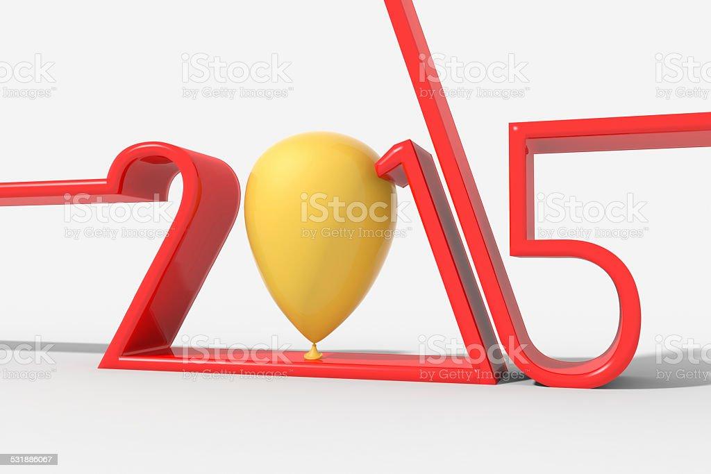 Anno 2015 con palloncino al posto dello 0 stock photo
