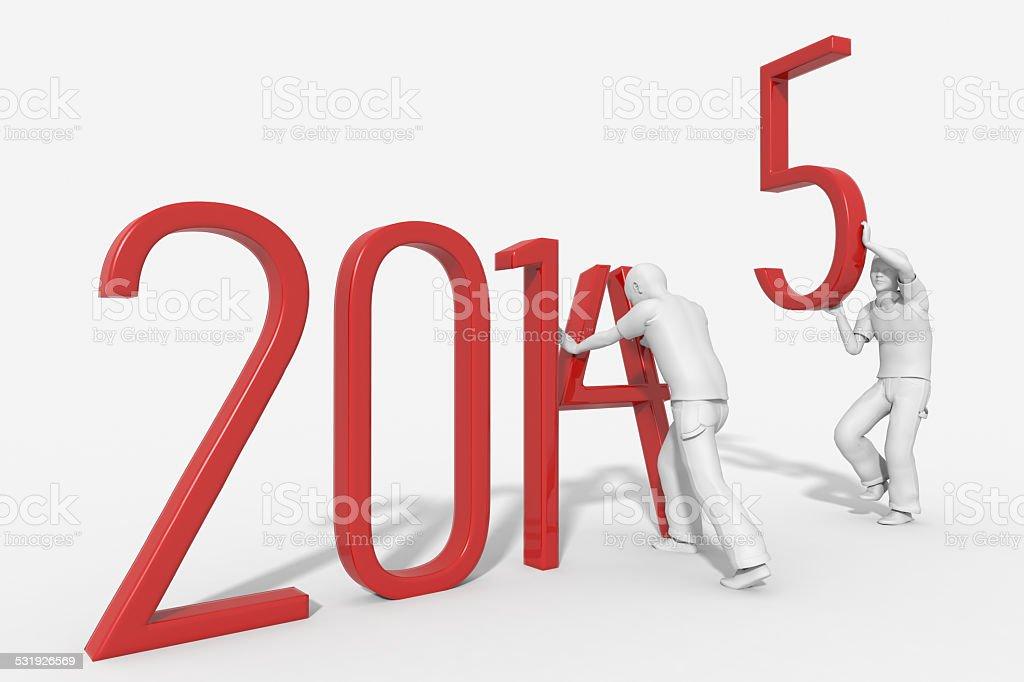 Anno 2015 con persone che sostituiscono gli anni stock photo