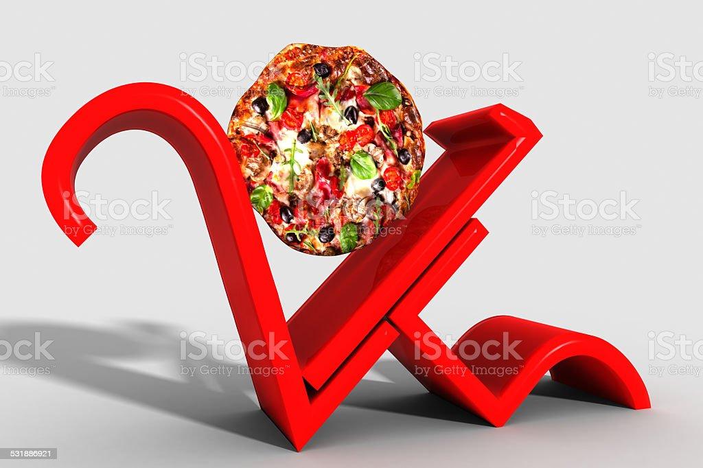 Anno 2015 con pizza al posto dello 0 stock photo