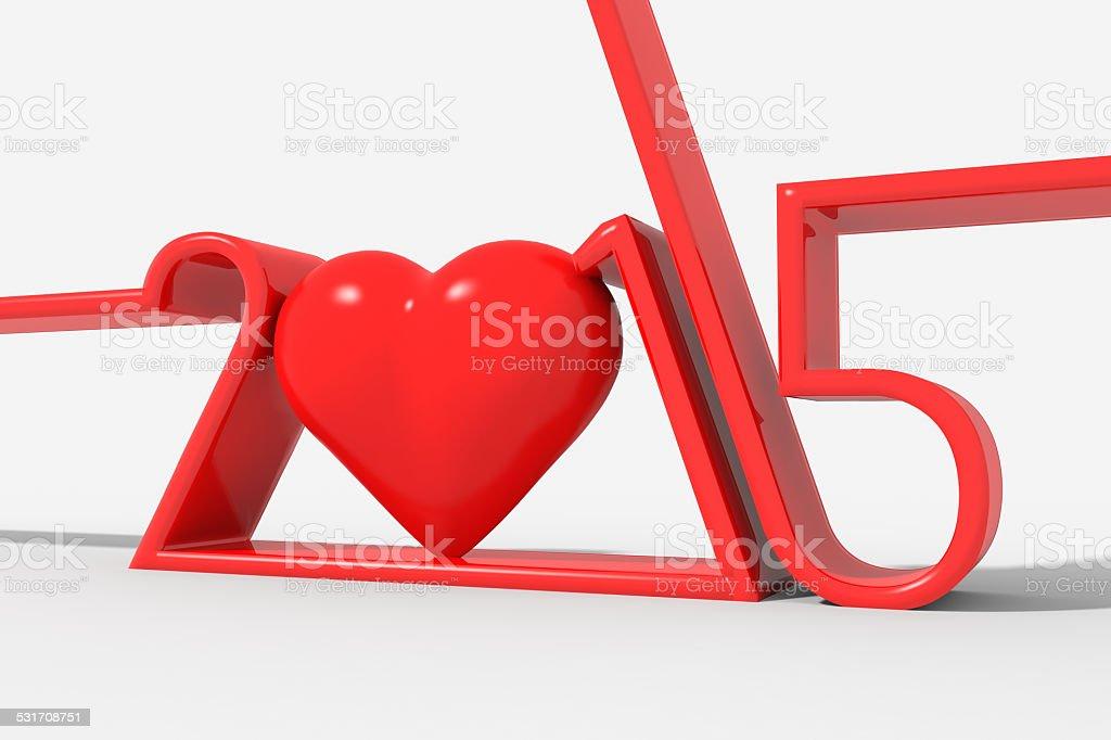 Anno 2015 con simbolo cuore stock photo