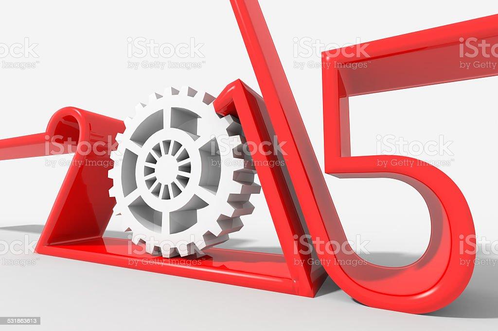 Anno 2015 logo moderno con ingranaggio stock photo