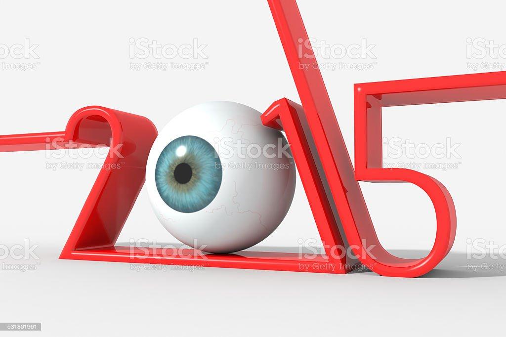 Anno 2015 logo moderno con occhio al posto dello 0 stock photo