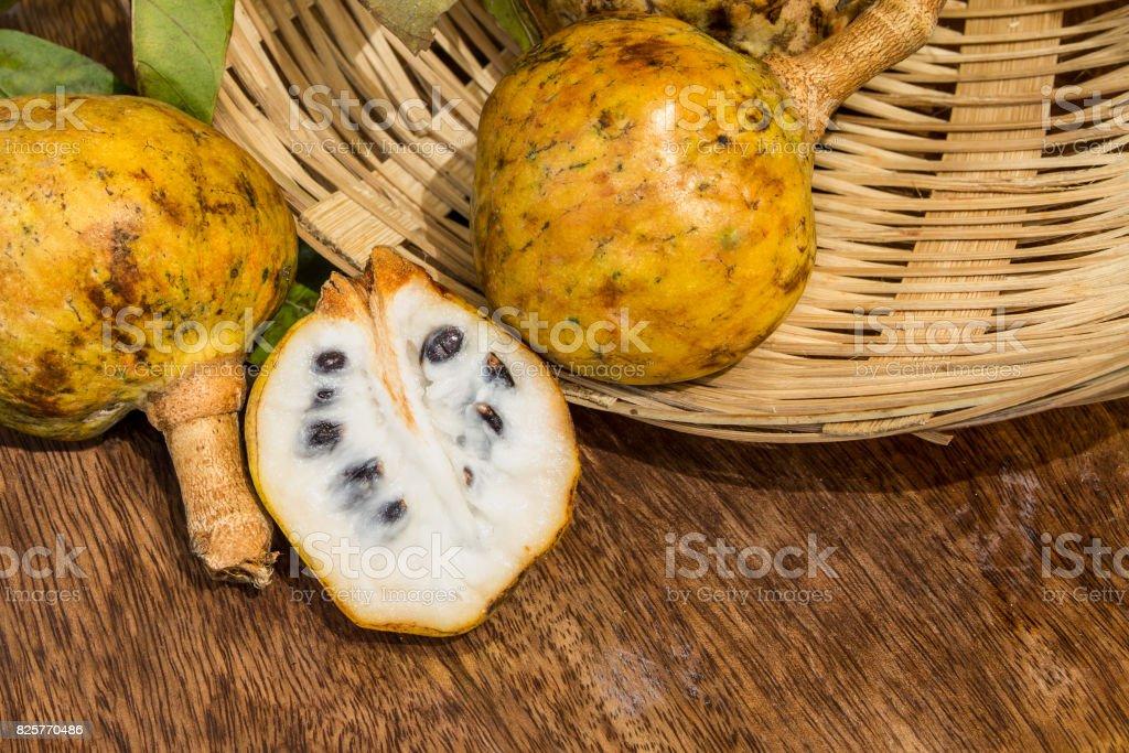 Annona scaly, sugar apple fruit. Divided half annona cherimola fruit. stock photo