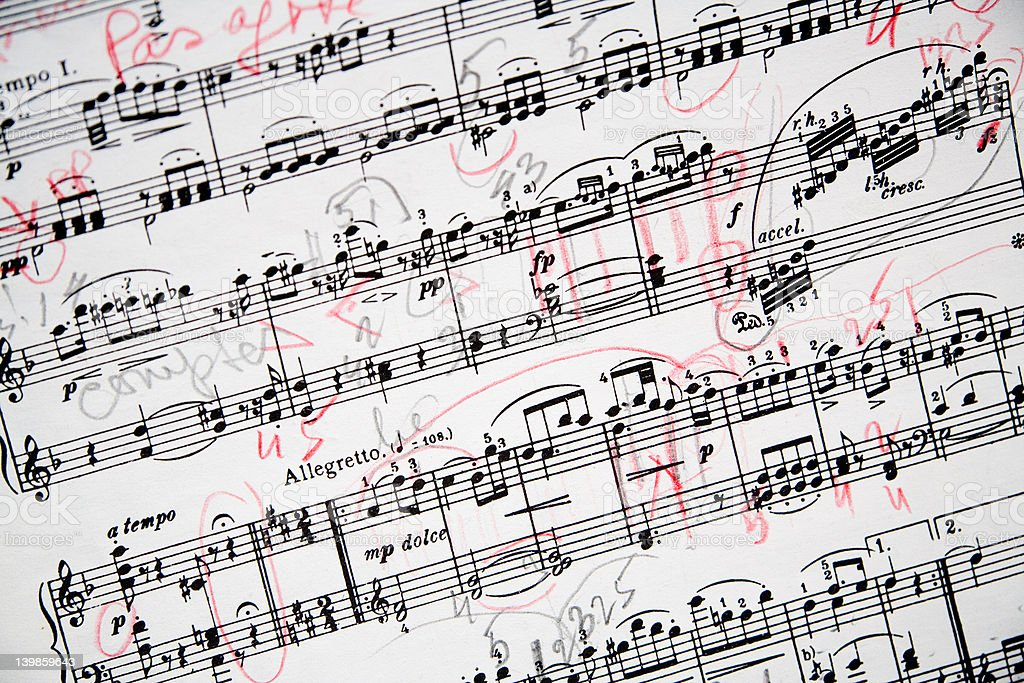 Annotated Musical Sheet stock photo