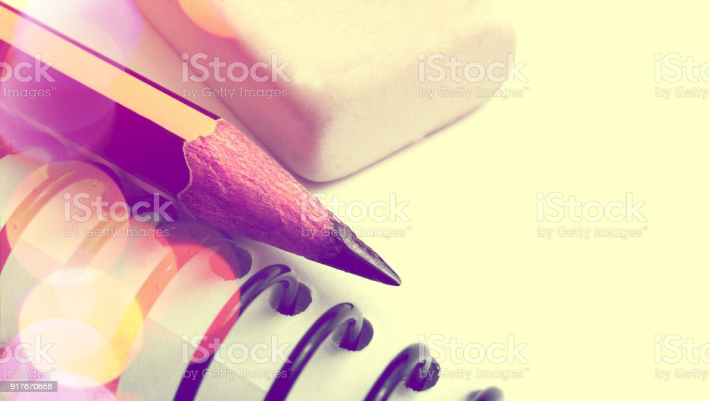 Annotation in the notebook. stock photo