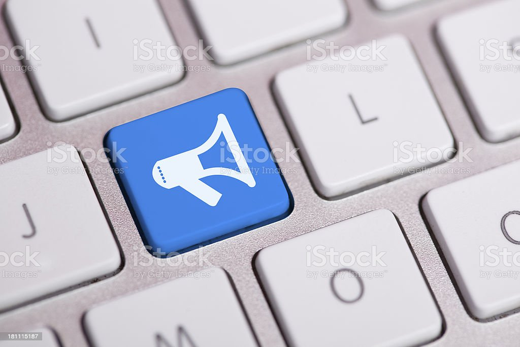 Announcement Concept on Keyboard stock photo