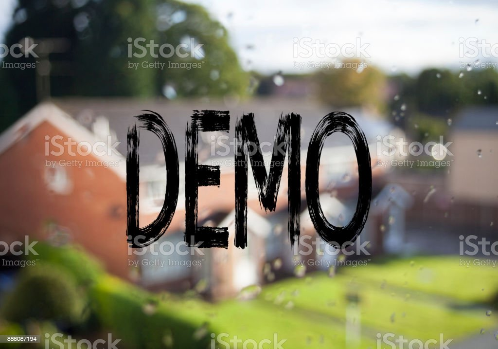 Announcement text caption showing Demo. Business concept for Software Demonstration written on old brick background with copy space stock photo