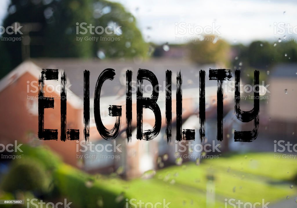 Announcement text caption showing Eligibility. Business concept for Suitable Eligible Eligibility written on old brick background with copy space stock photo