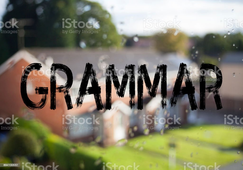 Announcement text caption showing Grammar. Business concept for  The Basic Rules of Syntax Grammatical Language written on old brick background with copy space stock photo