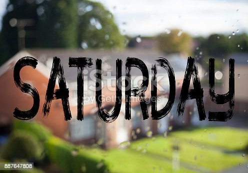 istock Announcement text caption showing Saturday. Business concept for Happy Week Weekend written on old brick background with copy space 887647808