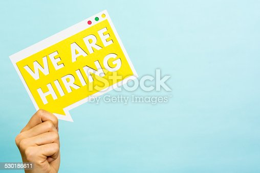 istock Announcing we are hiring message, copyspace, Job board, Recruitment. 530186611