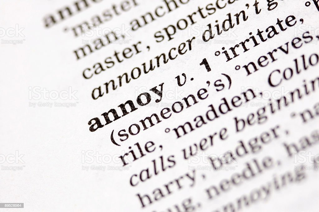 Annoy written in thesaurus royalty-free stock photo