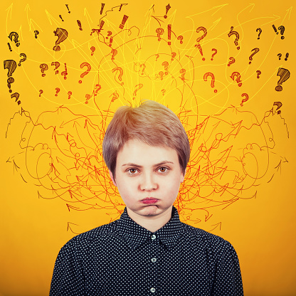 istock Annoyed irritated young female hipster blowing her cheeks, frowning, feeling tired or frustrated. Fatigue or boredom concept as lines, arrows and mess come out of head. 1156492844