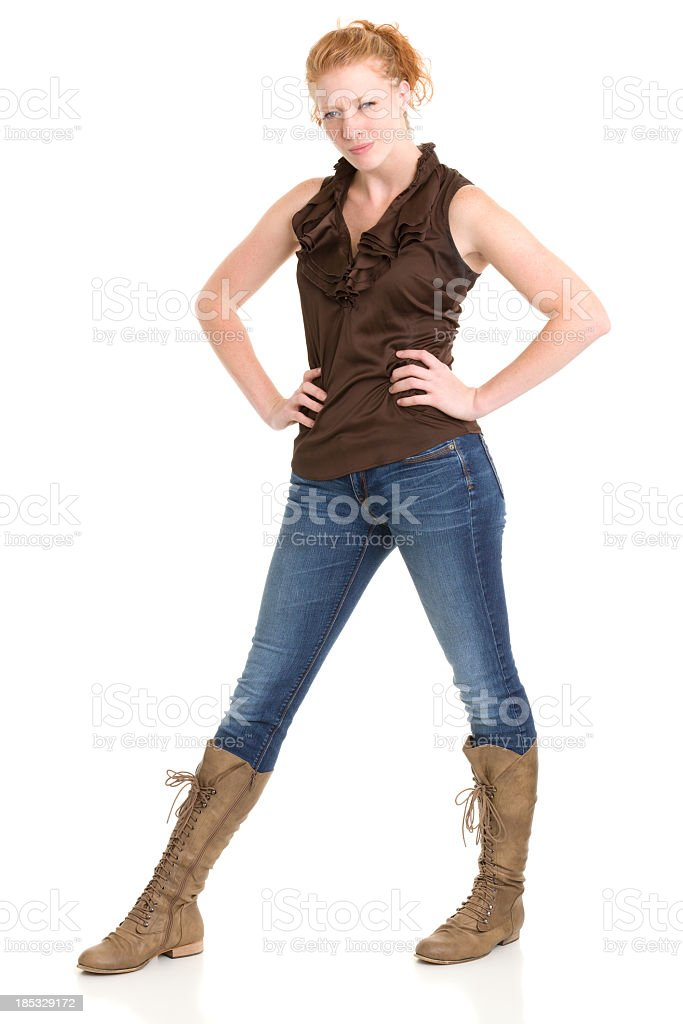 Annoyed Tough Young Woman Standing royalty-free stock photo