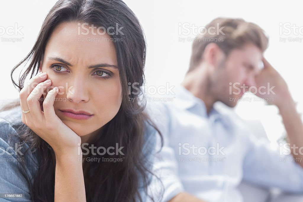 Annoyed woman holding her head royalty-free stock photo