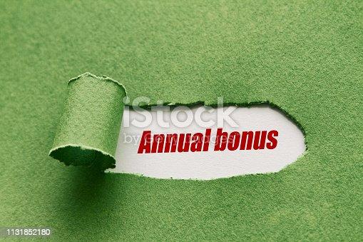 Annual bonus written under torn paper.