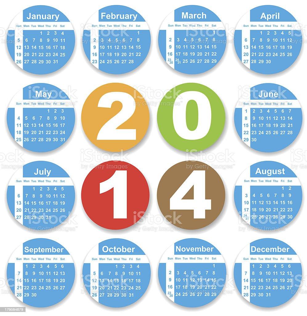 Annual calendar design for 2014 royalty-free stock photo