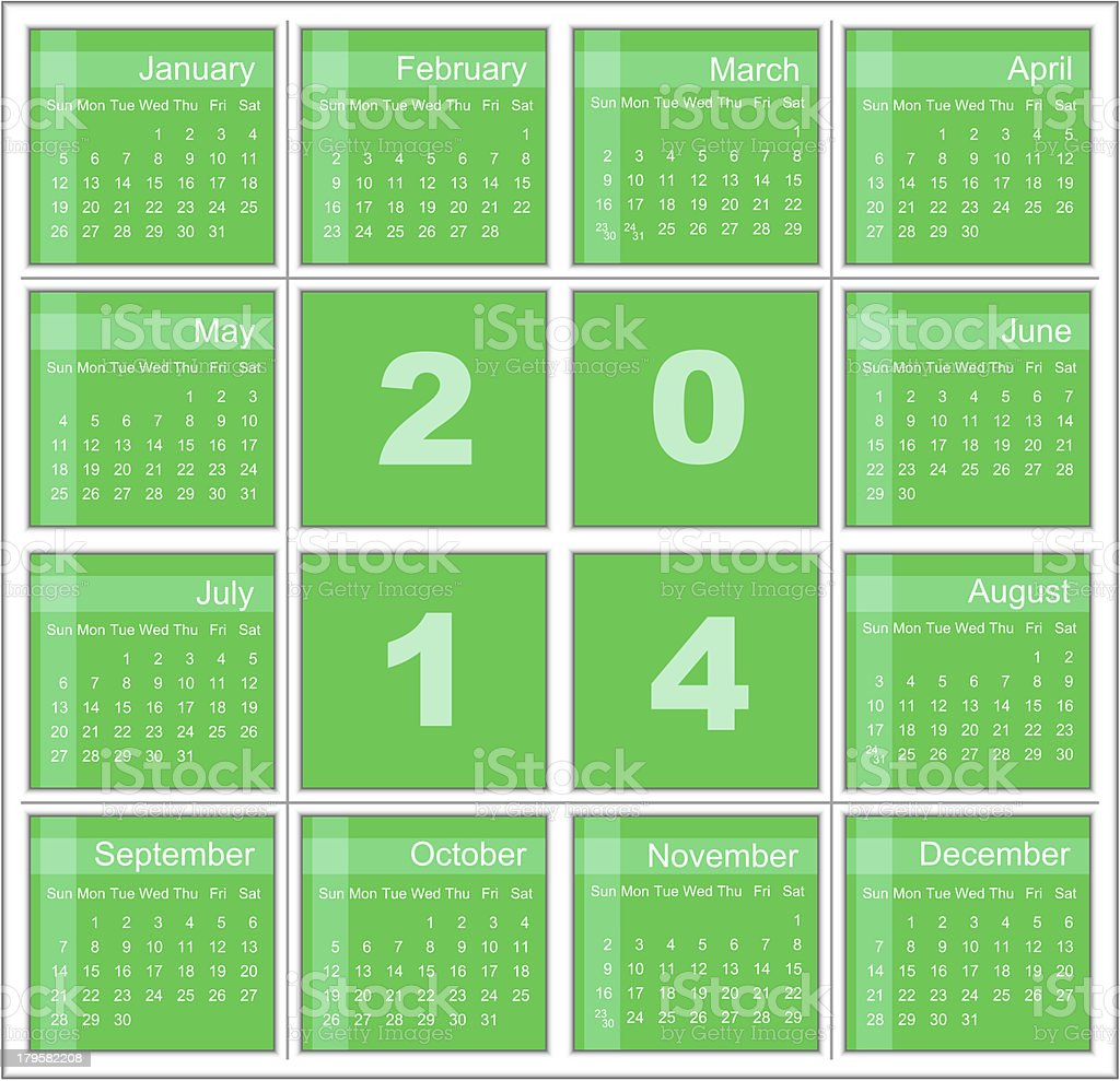 Annual calendar for 2014 royalty-free stock photo