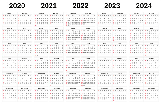 istock 2020-2024 annual calendar with white background. 1161361431