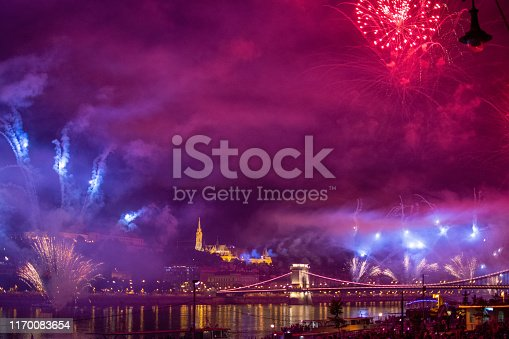 BUDAPEST - AUGUST 20, 2019: Annual fireworks on August 20 over Danube river and Chain bridge with Buda Castle, Celebration of the foundation of Hungarian nation. Budapest, Hungary, Europe