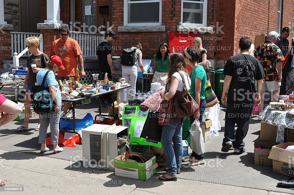 Annual Glebe garage sale in Ottawa stock photo