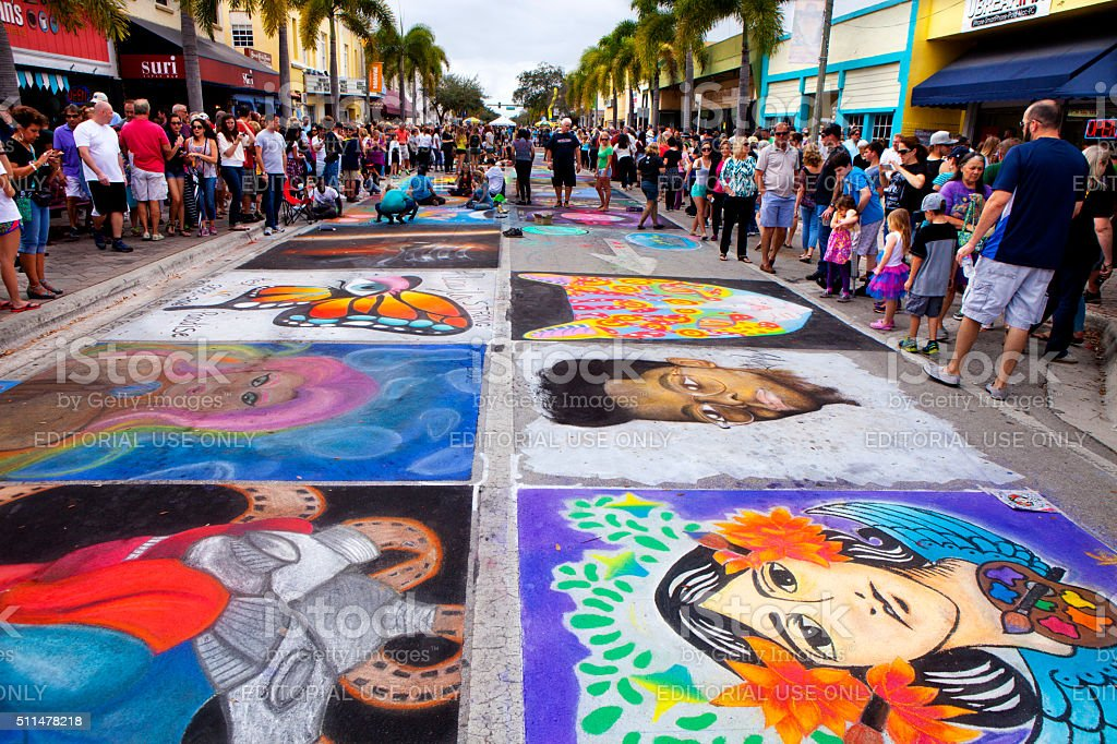 Annual Lake Worth Florida Street Painting Festival stock photo