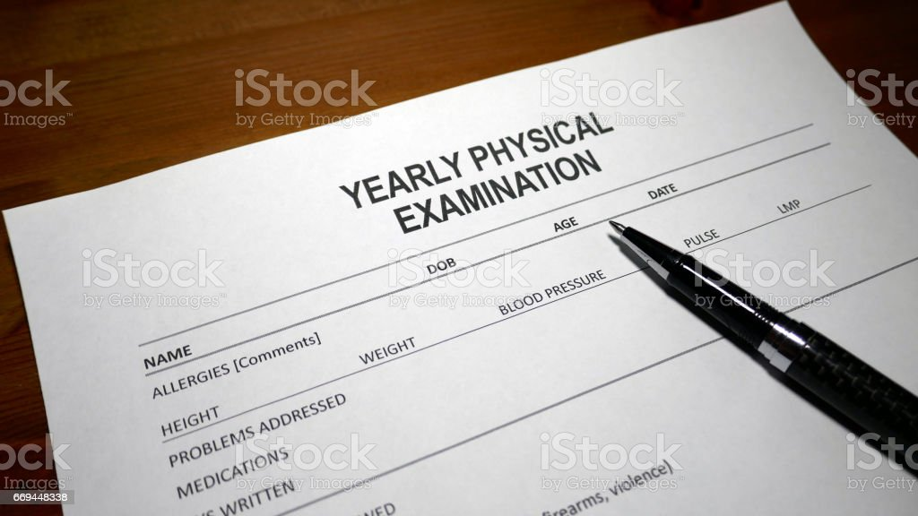 Annual Medical Exam Document stock photo