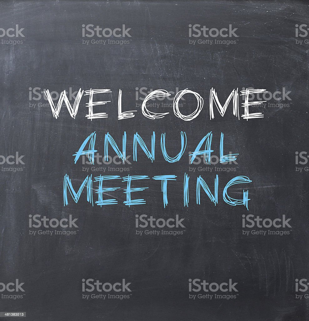 Annual meeting sign stock photo