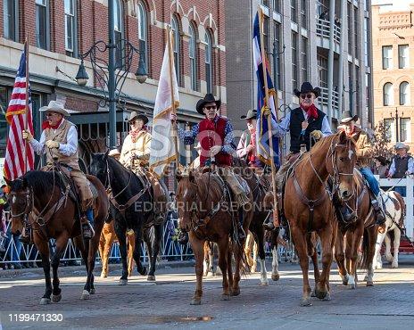 Denver, Colorado - January 9, 2020: Annual National Western Stock Show Kick-Off Parade travels up 17 Street