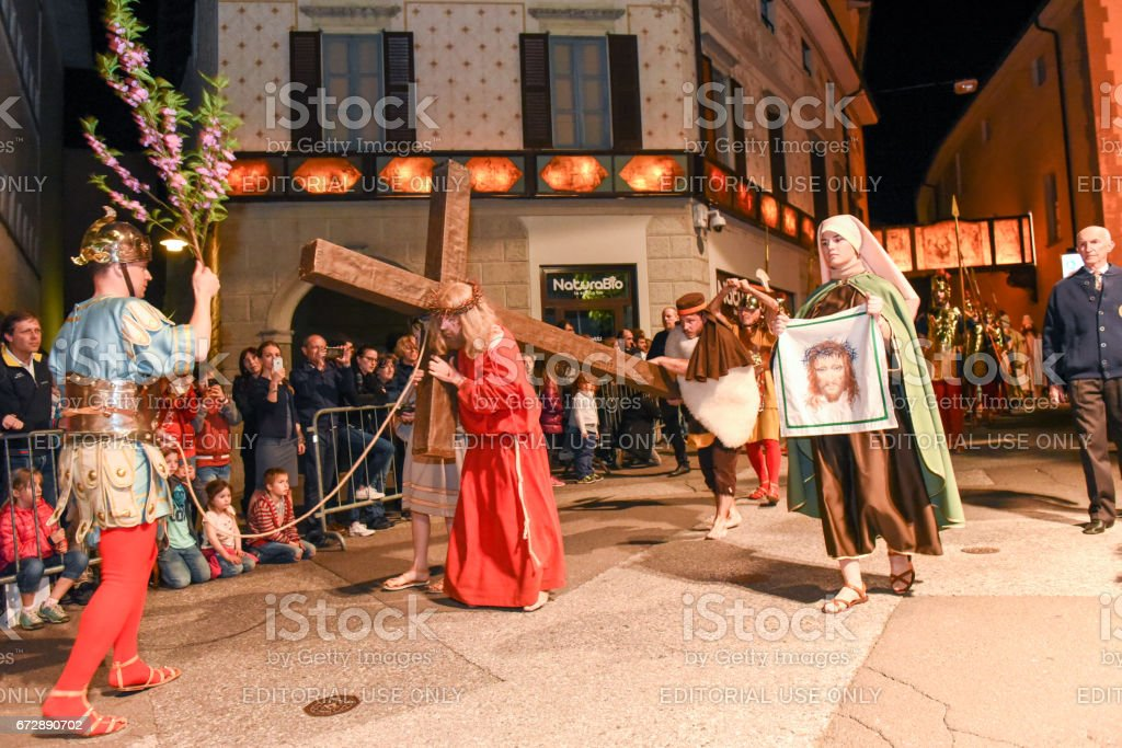 Annual procession of the crucifixion of Jesus Christ at easter stock photo