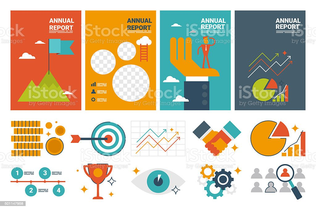 annual report cover A4 sheet template stock photo