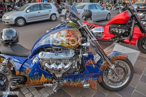 Velden, Austria - September 8, 2015: Bikers from all over Europe during annual European Bike Week festival.