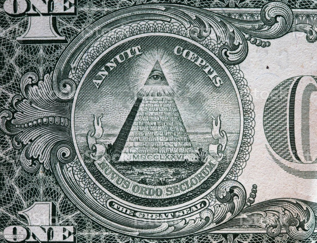 Annuit coeptis motto and the Eye of Providence. One dollar bill stock photo