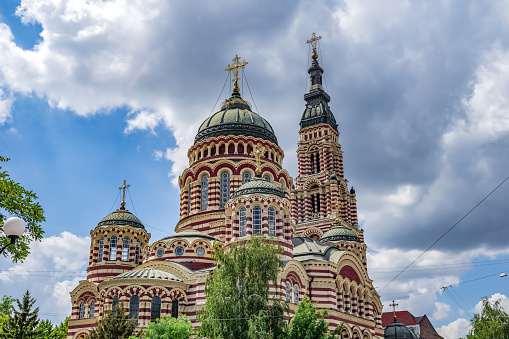 istock Annunciation Cathedral in Kharkov close-up, isolated on the background of the cloudy sky 1266731772
