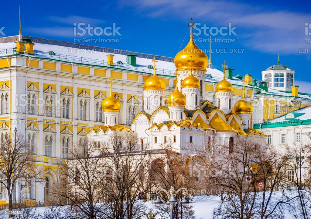 Annunciation Cathedral of the Moscow Kremlin stock photo