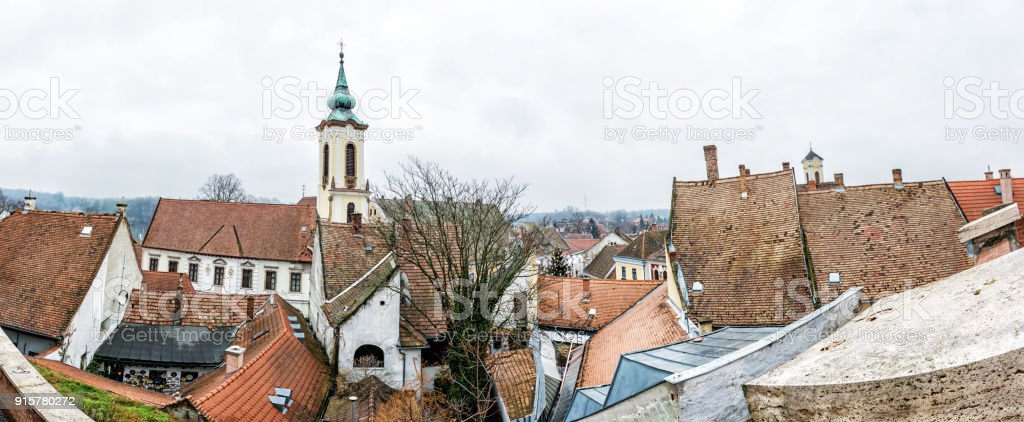 Annunciation church and red roofs of old houses, Szentendre, Hungary stock photo