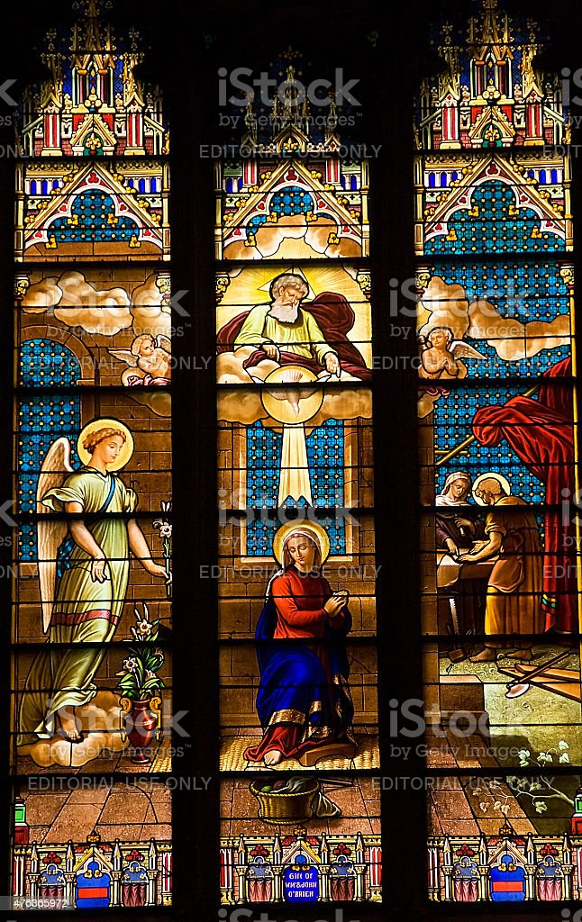 Annunciation Mary Stained Glass St. Patrick's Cathedral New York City stock photo