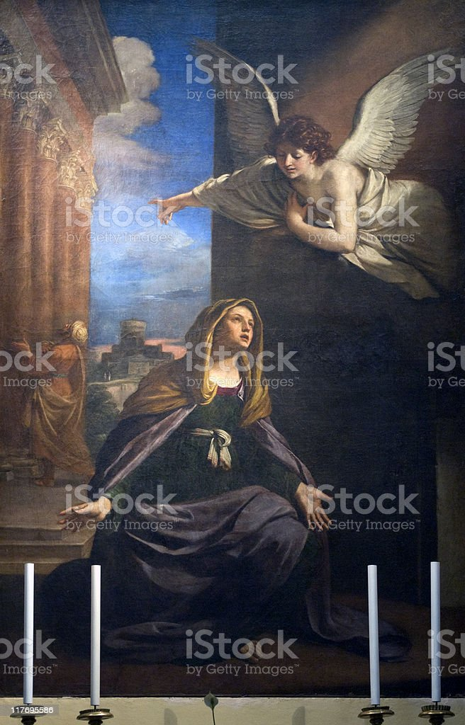 Annunciation - Painting in the San Nicola church of Tolentino royalty-free stock photo