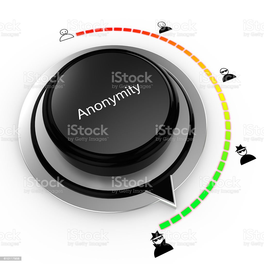 Anonymity concept with a rotary knob increasing privacy stock photo