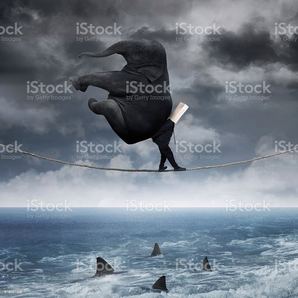 Anonymous businessman walk over the sea stock photo