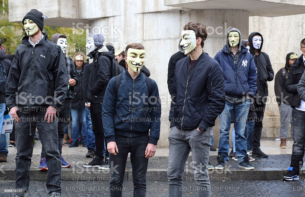 Anonymous demonstration in Amsterdam, Holland stock photo