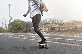 modern commute on electric skateboard in city urban transportation battery powered vehicle