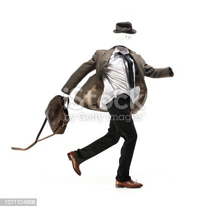 Hurrying up. Anonymous, unrecognizable invisible man in casual wear isolated on white studio background. Fashion, style, wear shop, rhythm of city life. Trendy urban look. Copyspace for ad.